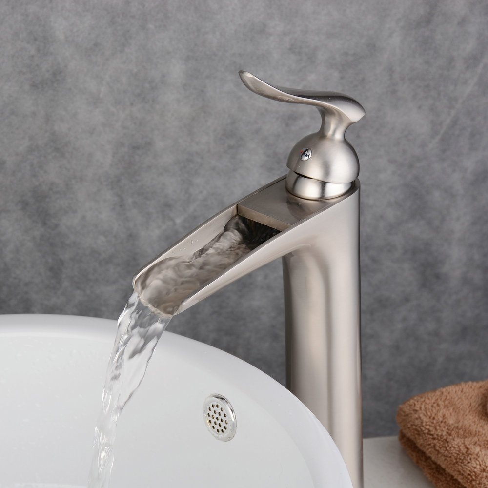 Beelee salle de bain Lavabo Robinet Brushed Nickel With Non-overflow Drain Tall