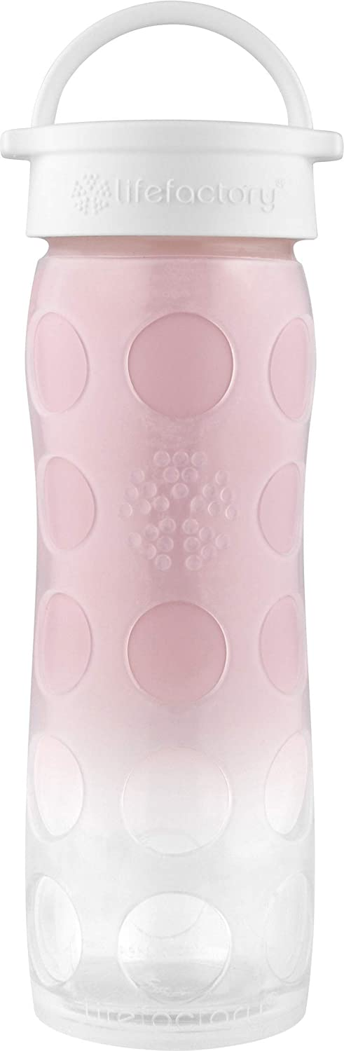 Lifefactory 16-Ounce BPA-Free Glass Water Bottle with Classic Cap and Silicone Sleeve, Pink Ombre
