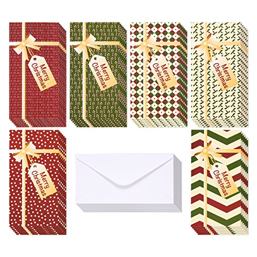 Cards Christmas Stationery (36-Pack Merry Christmas Greeting Cards - Xmas Money and Gift Card Holder Cards in 6 Gift Box Designs, Bulk Assorted Winter Holiday Cards Box Set with Envelopes Included, 3.6 x 7.25 Inches)
