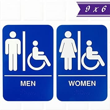 Amazoncom Set Of ADA Restroom Signs With Braille Mens And - Ada compliant bathroom signs