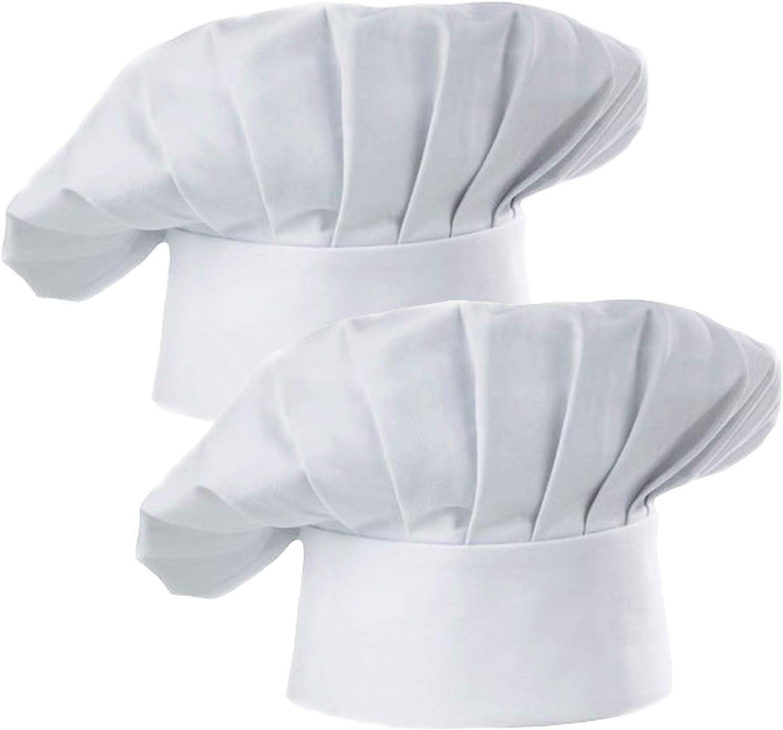 Chef Hat White 2PCS Adult Premium Adjustable Elastic Baker Kitchen Cooking Chef Cap