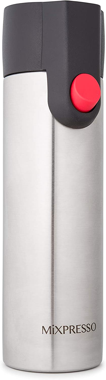 Mixpresso Vacuum Insulated Water Bottle - 17oz Coffee Travel Mug, BPA Free For Hot And Cold (Stainless Steel, 17 oz.)