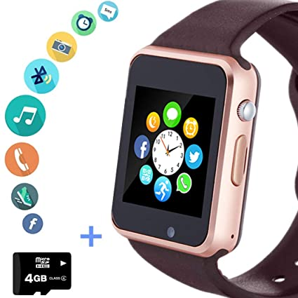 Smart Watch Phone Smartwatch with SIM Card Text Call Notifications Slot Camera Pedometer Compatible with Android Samsung LG Sony and iPhone for Men ...