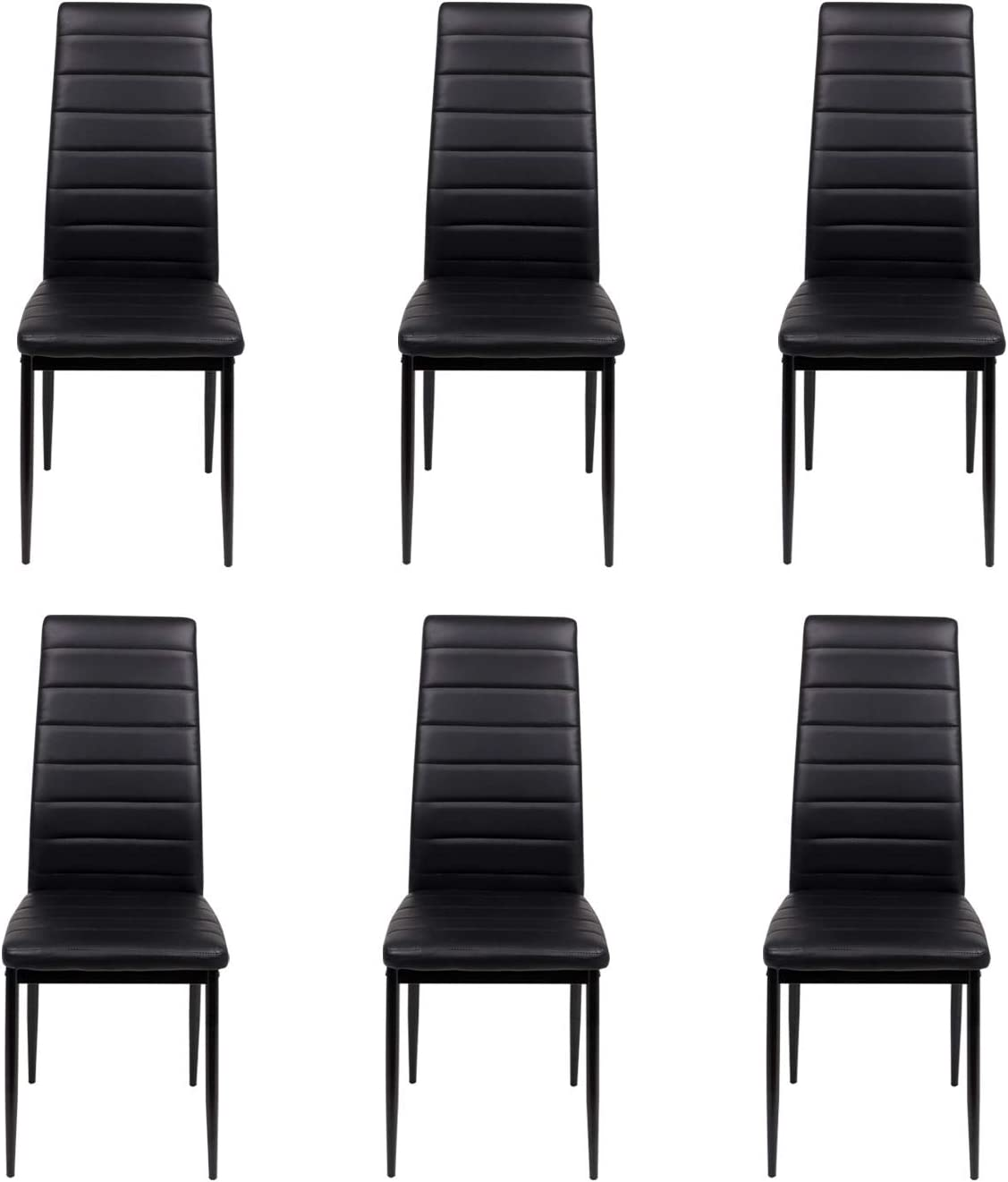 J Dining Table And Chairs Black Smooth Glass Table With Set Of 6 High Back Pu