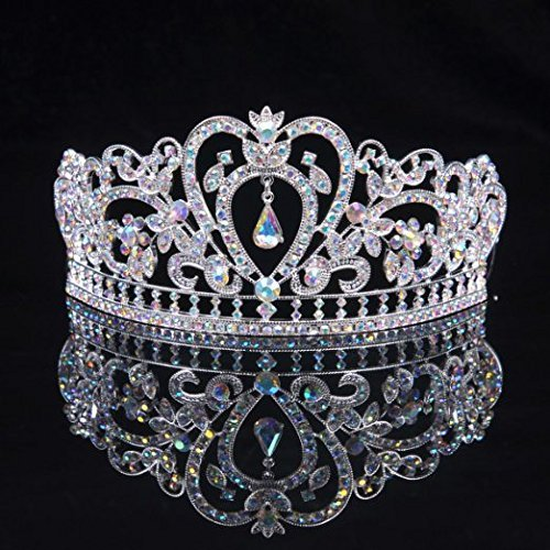 "Sunshinesmile Colorful Clear Austrian Rhinestone Crystal Tiara Crown, 6"" Diameter"