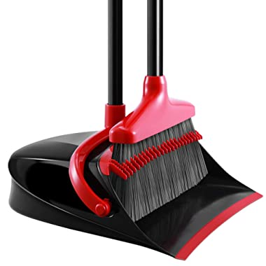Homemaxs [Newest 2019] Broom and Dustpan Set, Long Handle Broom with Dustpan, Upright Dustpan with Upgrade Combo for Thorough Sweeping, Good Grip Dustpan and Lobby Broom for Pet Hair