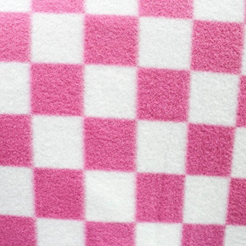 - Pink & White Racing Anti Pill Plaid Fleece Fabric, 60