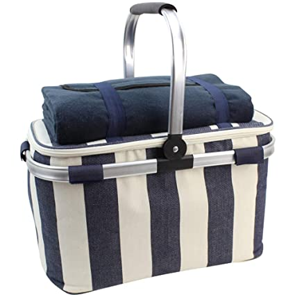HappyPicnic 25L Insulated Cooler Bag with Foldable Aluminium Handle, Picnic Basket with Waterproof Picnic Blanket for Outdoor Travel Camping (Wide Navy Blue Stripe) best picnic basket