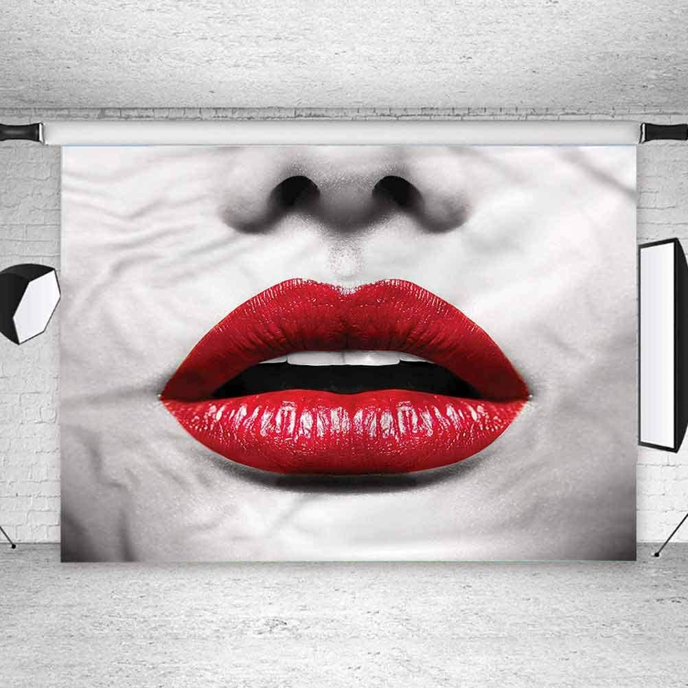 8x8FT Vinyl Photo Backdrops,Red and Black,Fashion Model Lips Background Newborn Birthday Party Banner Photo Shoot Booth