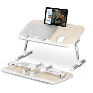 Laptop Stand Desk for Bed with Tablet Stand Slot,YOSHIKO Adjustable Laptop Table Bed Desk,Foldable Standing Desk for Writing in Sofa and Couch Wood, Laptop Desk for Lap, Lap Desk Bed Trays for Eating