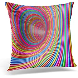 UPOOS Throw Pillow Cover Vortex Hypnotic Psychedelic Multicolour Circles Tunnel Extreme Closeup 3D Rendering Abstract Arcade Decorative Pillow Case Home Decor Square 16x16 Inches Pillowcase
