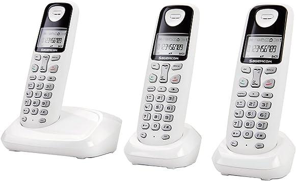 Sagemcom D17T Trio SAG-12257-3 teléfonos fijos inalámbricos digitales, color blanco (importado): Amazon.es: Electrónica