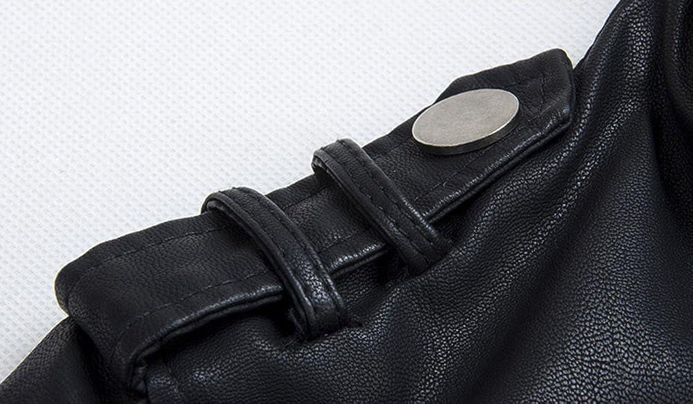 LXTH00o Mens Classic PU Zip Hooded Biker Rock Punk Jacket Coat Black M