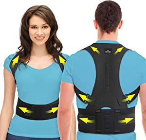 SOMAZ Adjustable Posture Corrector for Men&Women&Kids,Slouching Corrector,Clavicle support,Back Straightener, Upper and lumbar Back Brace Support for Rounded Shoulders& Back Pain (XL)