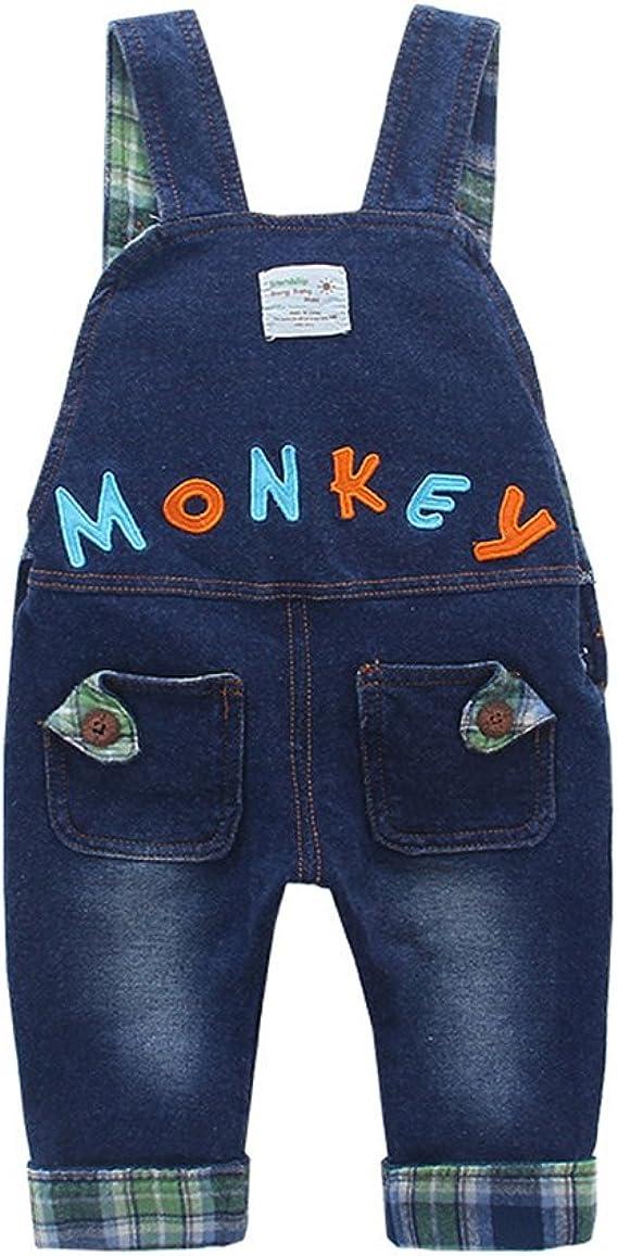 Kidscool Baby /& Little Boys//Girls Cotton 3D Cartoon Monkey Denim Overalls