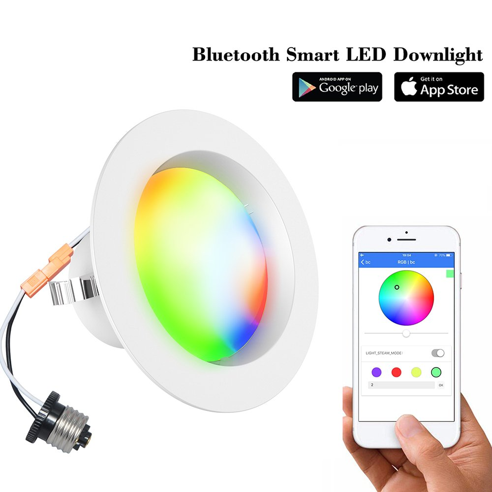 Smart LED Downlight-iLintek Bluetooth Multicolor 4 Inch/6 Inch Recessed Lights Color Changing RGBW LED Light - Bluetooth App Smartphone Controlled for Christmas Party - No Hub Needed (4inch-8pack)