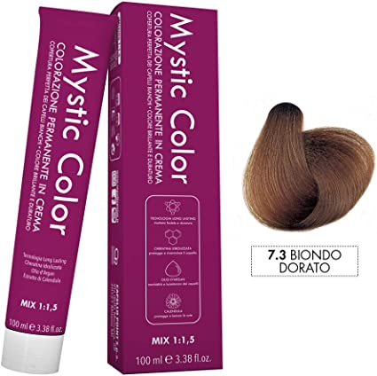 Mystic Color - Coloración Permanente en Crema con Aceite de Argán y Caléndula - Color Natural y Duradero - Tono 7.3 Rubio Dorado - 100 ml