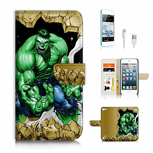 ( For ipod 5, itouch 5, touch 5 ) Flip Wallet Case Cover & Screen Protector & Charging Cable Bundle! A3937 Green Hulk Super Hero