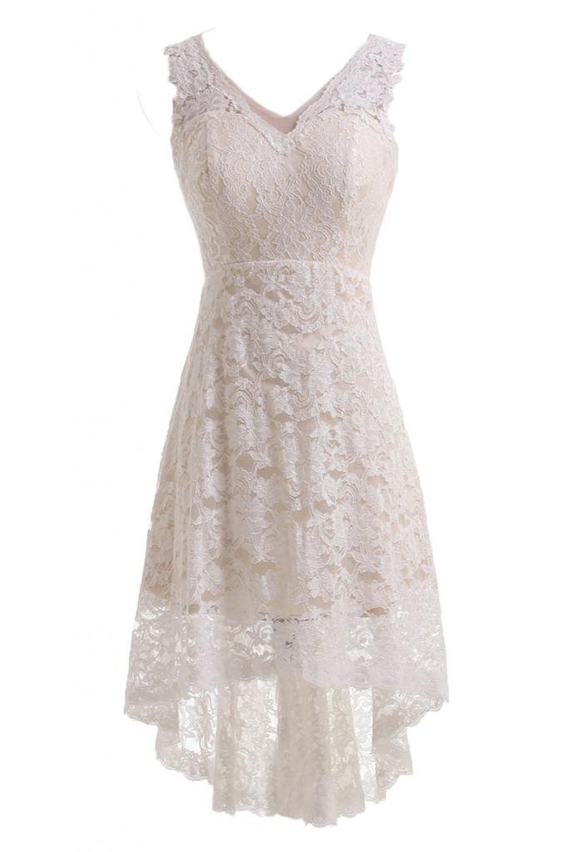 JOYNO BRIDE V-neck Lace HI-LO Ivory Evening Dress for Reception Wedding Dress (22, White)