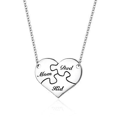 7ce615d32eea Bamoer plata de ley 925 familia amor Puzzle Corazón colgante collares para  las mujeres  Amazon.es  Joyería