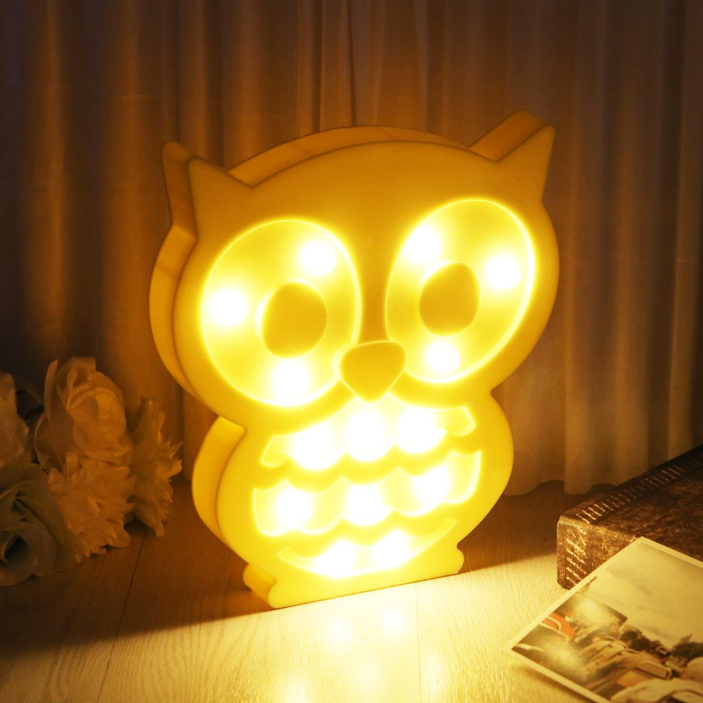 EA-STONE Light Owl Party Supplies Kids Colorful Lamp Battery Operated,Table Decorations for Wall Decoration,Kids' Room,Living Room,Bedroom (Yellow) by EA-STONE