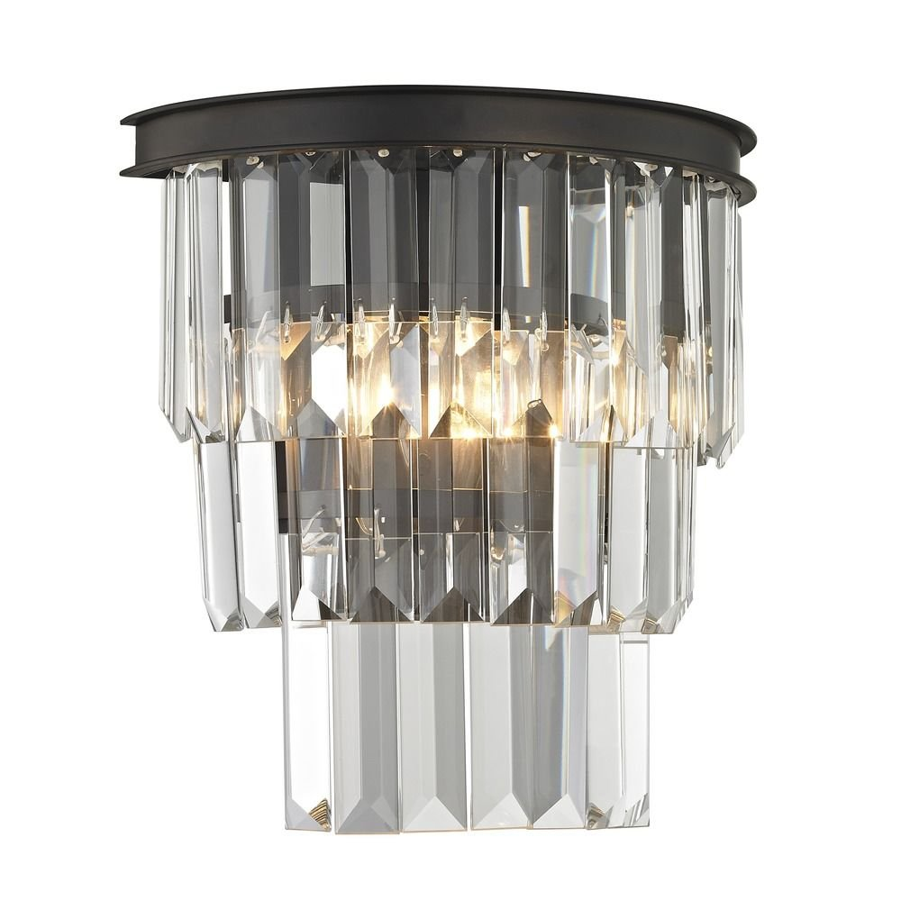 Tiered Crystal Sconce with 2 Lights Bronze by Ashford Classics (Image #2)