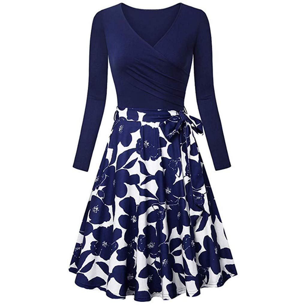 Nmch Women's Print Patchwork Long Sleeve Midi Dress with Belt V-Neck Casual Empire Waist Swing Dresses Elegance(Navy,XL)