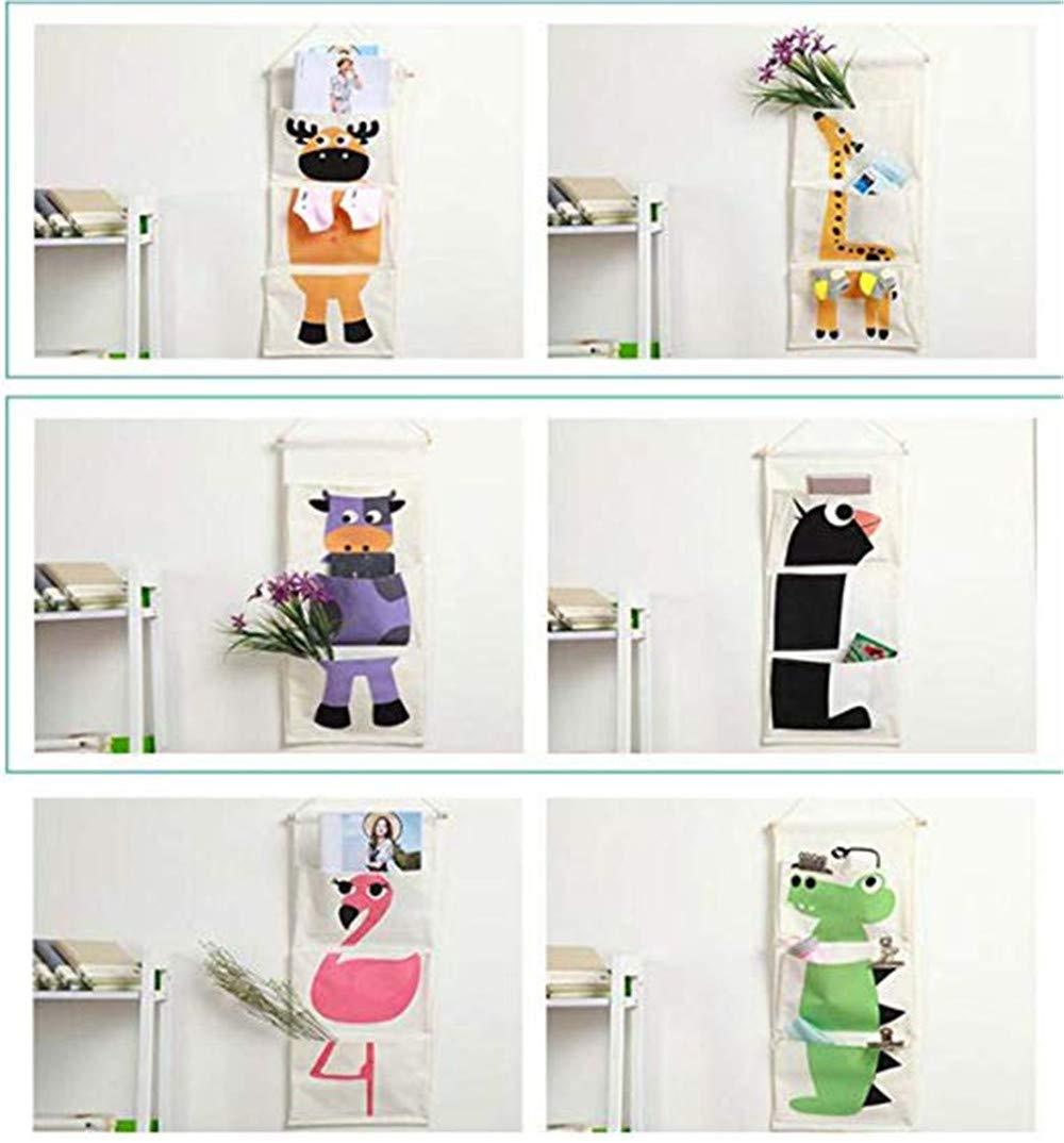 Flamingo avec 3 Poches Animal de Bande dessin/ée Tenture Murale Sac de Rangement RAILONCH Organisateur Suspendu