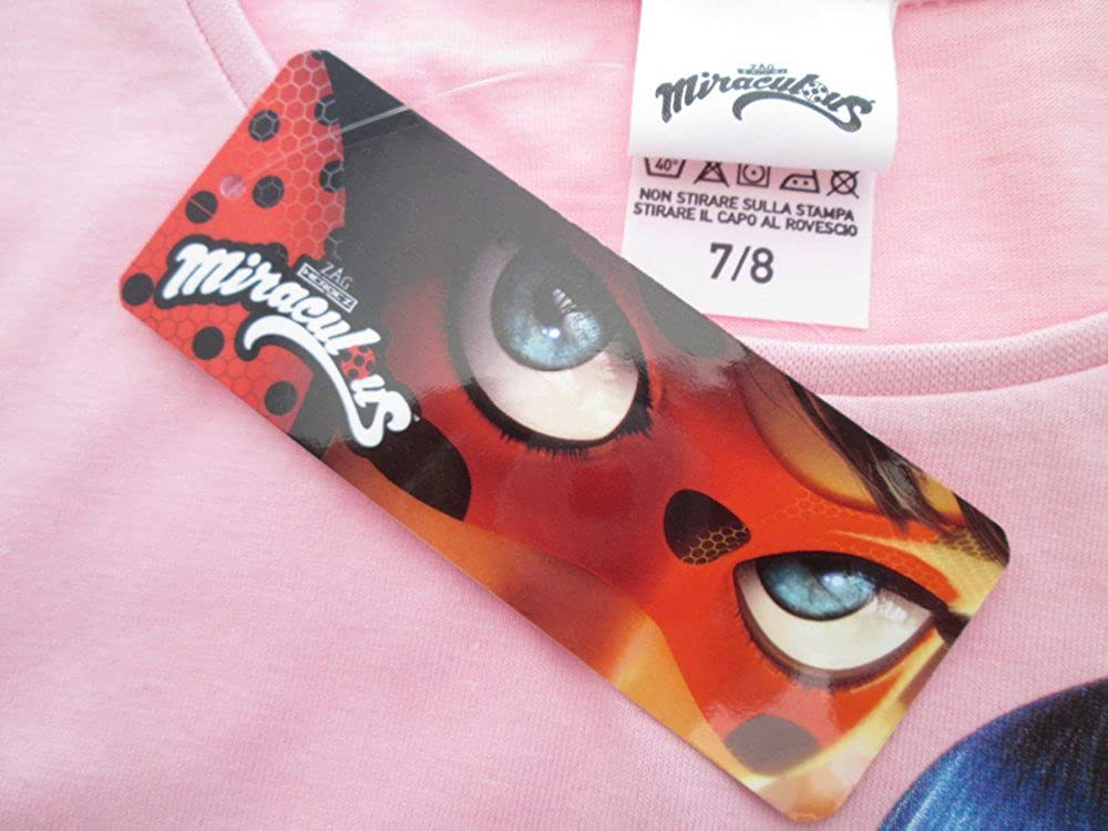 Miraculous T-Shirt Originale Ladybug Volto Occhi Rosso Ufficiale Bambina Maglia Maglietta