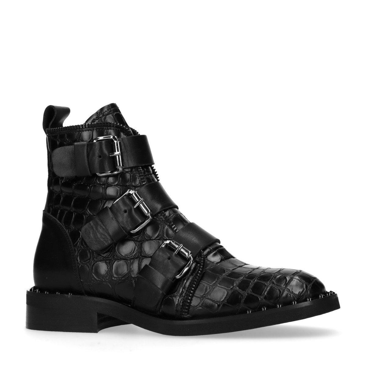 Sacha Schuhe   Damen Biker Boots   Schlangenmuster   Leder