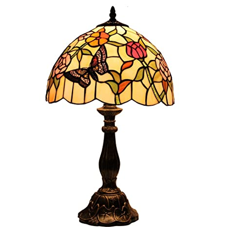 Bieye L10597 12 Inches Butterfly Tiffany Style Stained Glass Table Lamp,  19 Inch