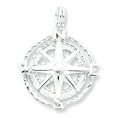 Amazon sterling silver compass rose charm pendant jewelry sterling silver compass rose charm pendant jewelry aloadofball Image collections