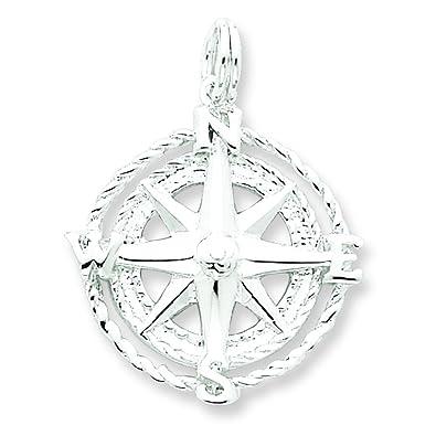 Amazon sterling silver compass rose charm pendant jewelry sterling silver compass rose charm pendant jewelry aloadofball Choice Image