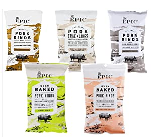 Epic Artisanal Oven Baked Pork Rinds, Variety Pack (5 Pouch)