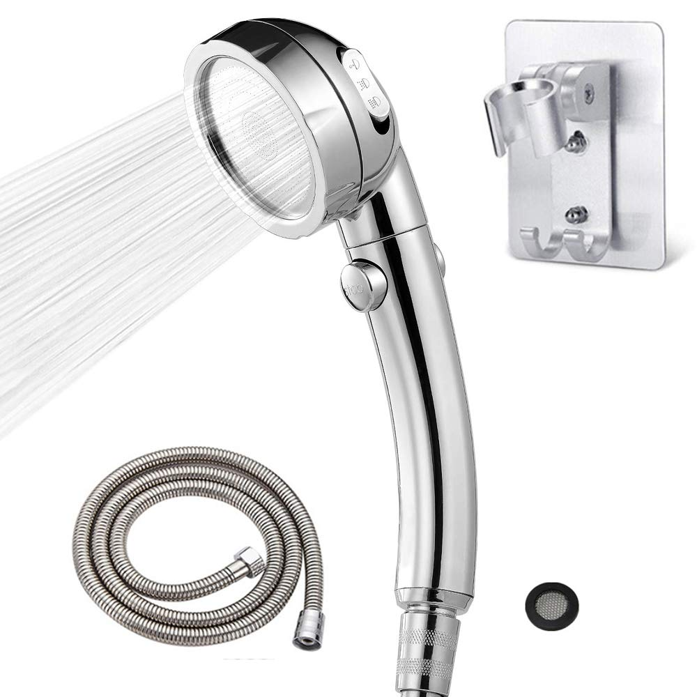 TURMZPY Deluxe Electroplating Hand Shower with Hose/Holder/Filter Water Saving 3 Modes Adjustable Shower Head ON/OFF Switch