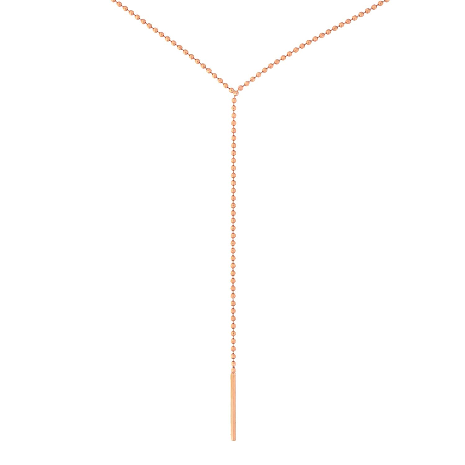 Automic Gold Solid 14k Yellow White or Rose Gold Lariat Necklace 18