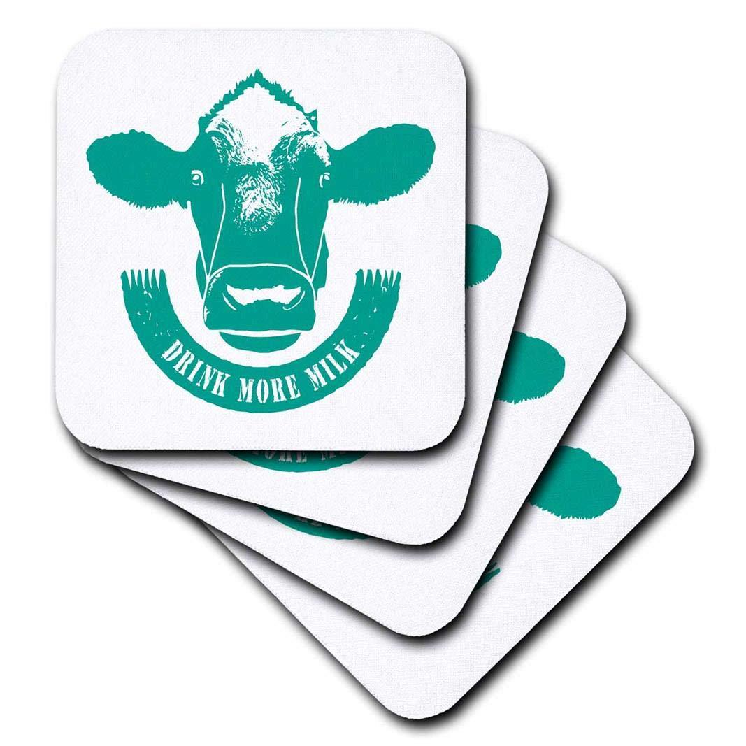 3dRose Russ Billington Designs - Drink More Milk- 青緑と白の牛の頭と渦巻き - コースター Set-of-4-Soft cst_262056_1 Set-of-4-Soft  B0761YM19Y