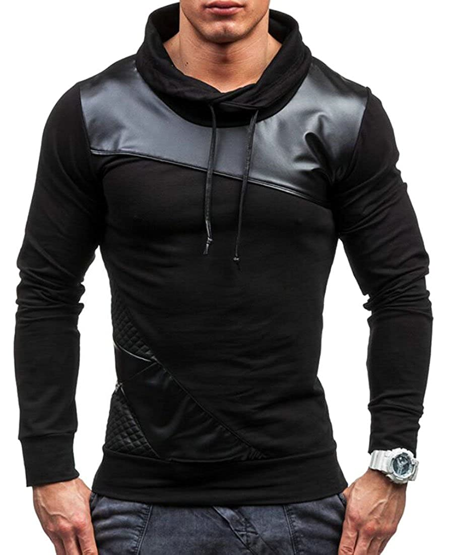 Domple Mens Long Sleeve Hooded PU Stitching Hoodies Workout Pullover Sweatshirts