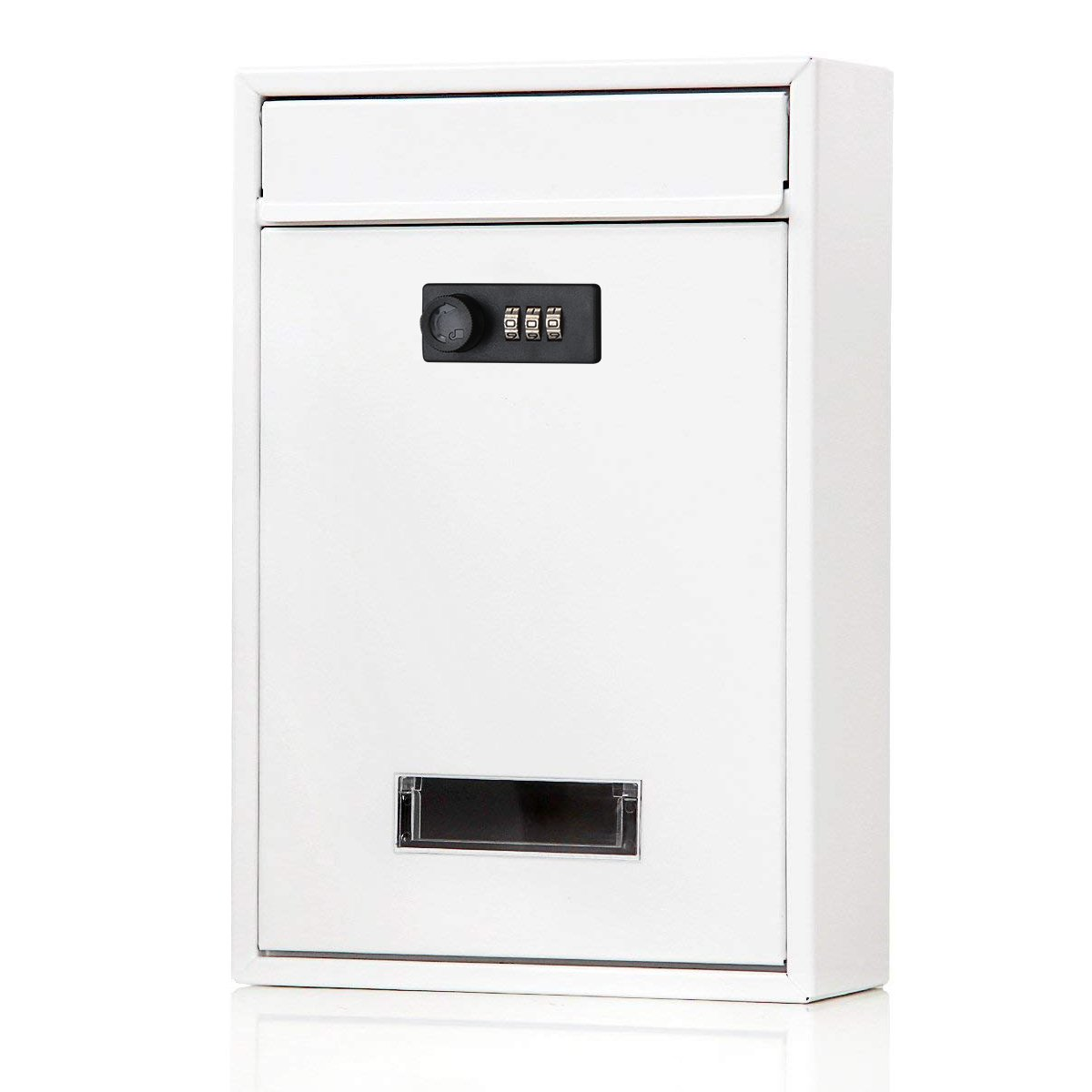 Locking mailbox wall mounted vertical– Jssmst mail boxes with combination lock large capacity, 12.6 x 8.46 x 3.35 Inch, white,SM-0604CM