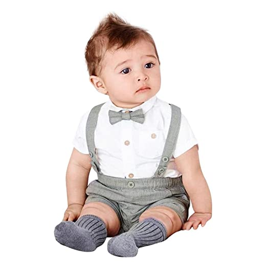 87269062d Amazon.com: Auwer Summer Kids Baby Boys Clothes Set Gentleman Bowtie Short  Sleeve Shirt+Suspenders Shorts Set Clothes: Clothing