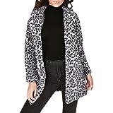 FELZ Abrigos de Invierno para Mujer Chaqueta Delgada de Peluche de Solapa con Estampado de Leopardo
