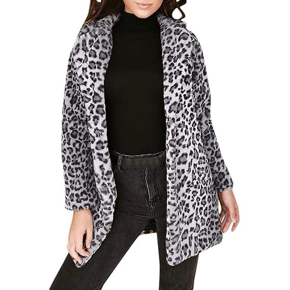 FELZ Abrigos de Invierno para Mujer Chaqueta Delgada de Peluche de Solapa con Estampado de Leopardo para Mujer: Amazon.es: Ropa y accesorios