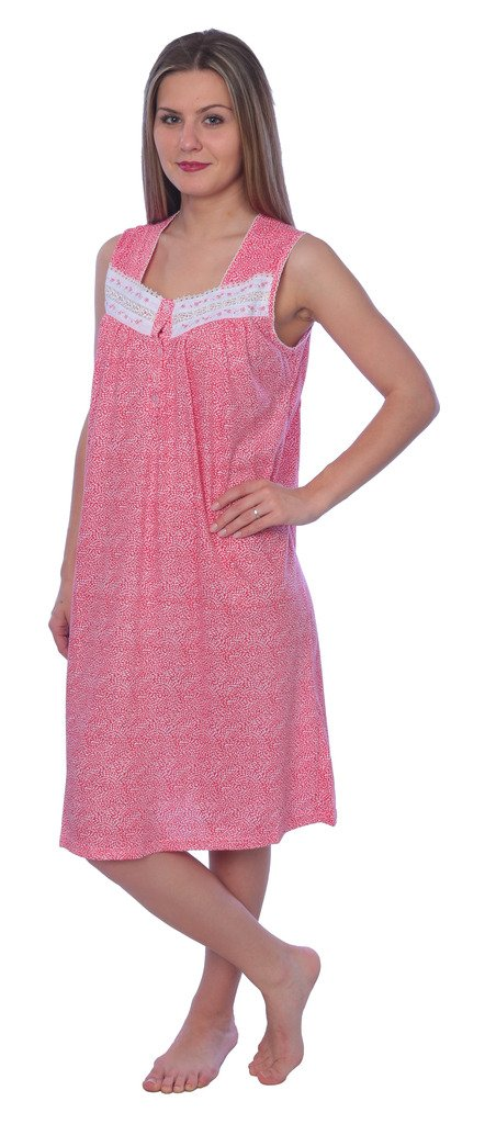 Beverly Rock Women's Floral Print Sleeveless Knit Nightgown RX117 Pink 3X