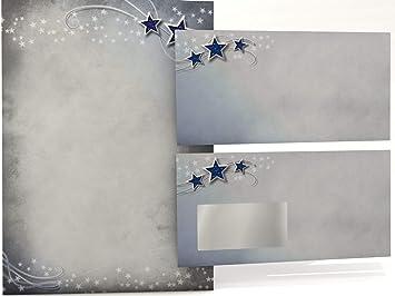 20 Briefumschl/äge OHNE FENSTER im DIN LANG-Format Spuren im Schnee Weihnachtsbriefpapier Set Briefpapier Set 20 Blatt Motivpapier A4
