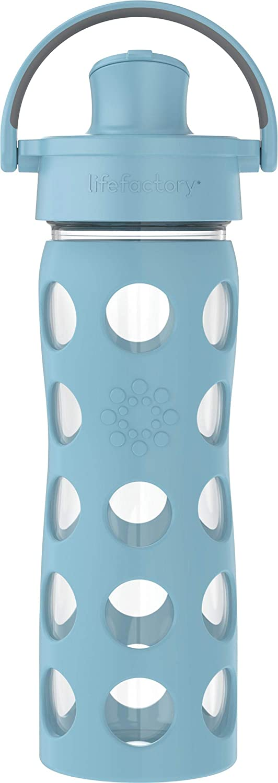 Lifefactory 16oz Active Flip Cap, Denim Glass Water Bottle