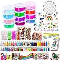 Slime Kit Supplies - Slime Making Kit for Kids, Includes 12 Crystal Slime, 48 Packs Glitter Sheet Jars, 25 Pcs Animals Beads, Foam Balls, Fruit Slices, Fishbowl Beads, Sugar Paper, and Instruction