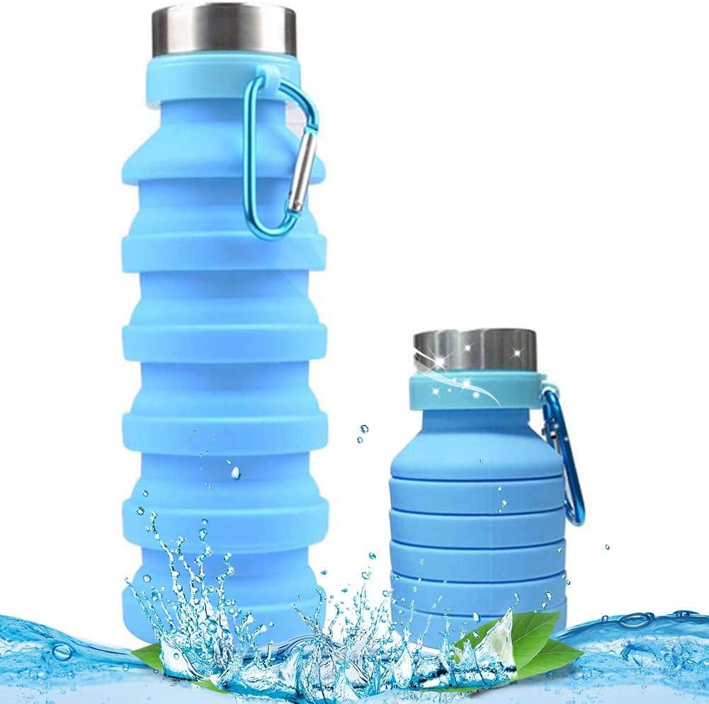 BETOY 550ML Botella de Agua Plegable – Botella de Agua Deporte,Reutilizables a Prueba de Fugas Botellas Potable con Filtro para niños, Colegio, Sport, Gimnasio, Trekking, Bicicleta