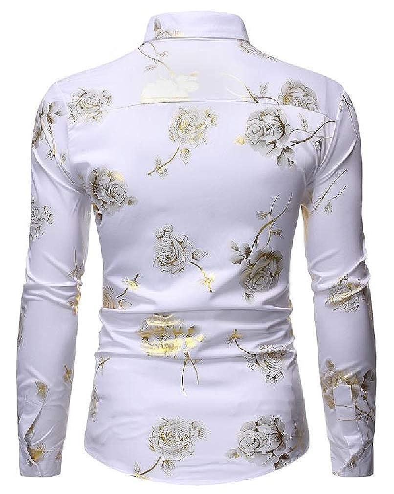 Smallwin Mens Long Sleeve Slim Fit Lapel Neck Print Metallic Button Down Shirts