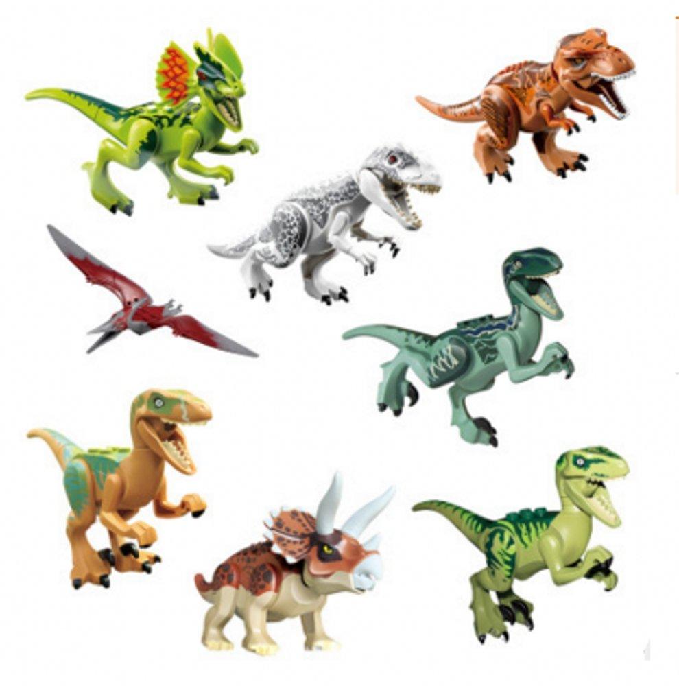 CHSYOO 8 x Klein Kindersicher Spielzeug Jurassic Welt Dinosaurier Blöcke Set, Kopf, Mund, Hände, Füße sind beweglich, Mini ungiftig Dino Figuren Geschenk Dekoration für Kinder Geburtstag Party Hände