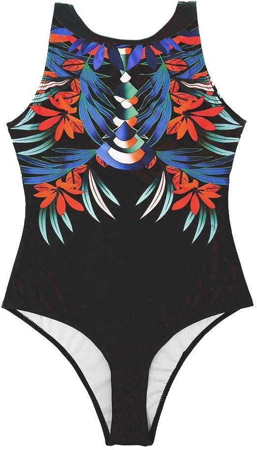 Women Casual Halter Sleeveless Stripe Low Back One-piece Swimsuit WST